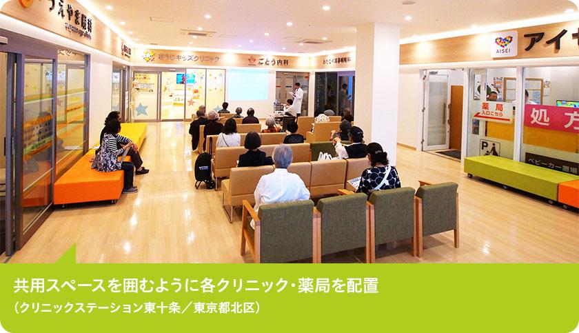 共用スペースを囲むように各クリニック・薬局を配置(クリニックステーション東十条/東京都北区)